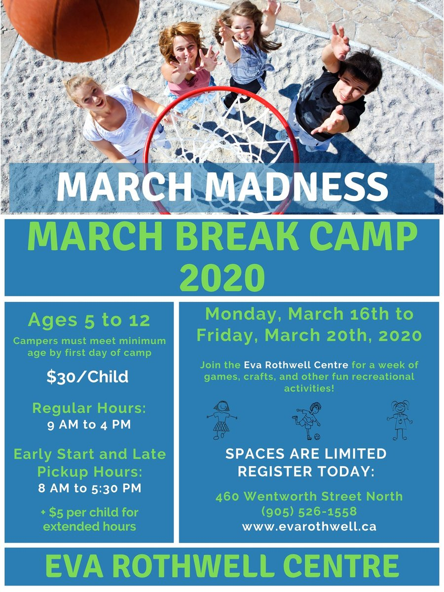 Spots are filling up quick for our March Break Camp!  Limited spots still available.  Stop by and register today!  #evarothwellcentre #marchbreakcamp pic.twitter.com/S2UI3lXDgE