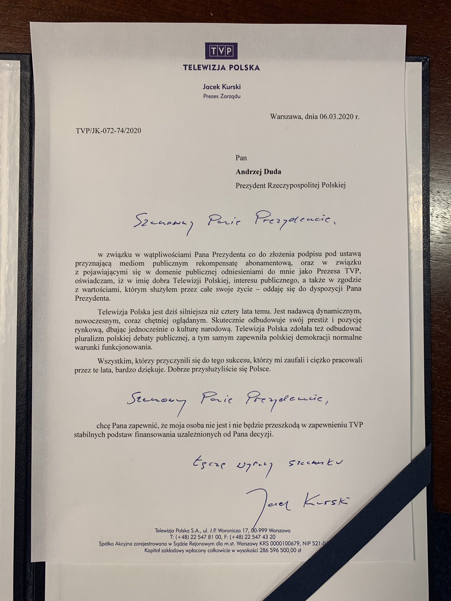 """List Jacka Kurskiego, prezesa TVP, do Andrzeja Dudy, w którym """"oddaje się do dyspozycji"""" Prezydenta RP, tuż przed ogłoszeniem decyzji w sprawie ustawy o dofinansowaniu 2 mld zł dla mediów państwowych, 6 marca 2020"""