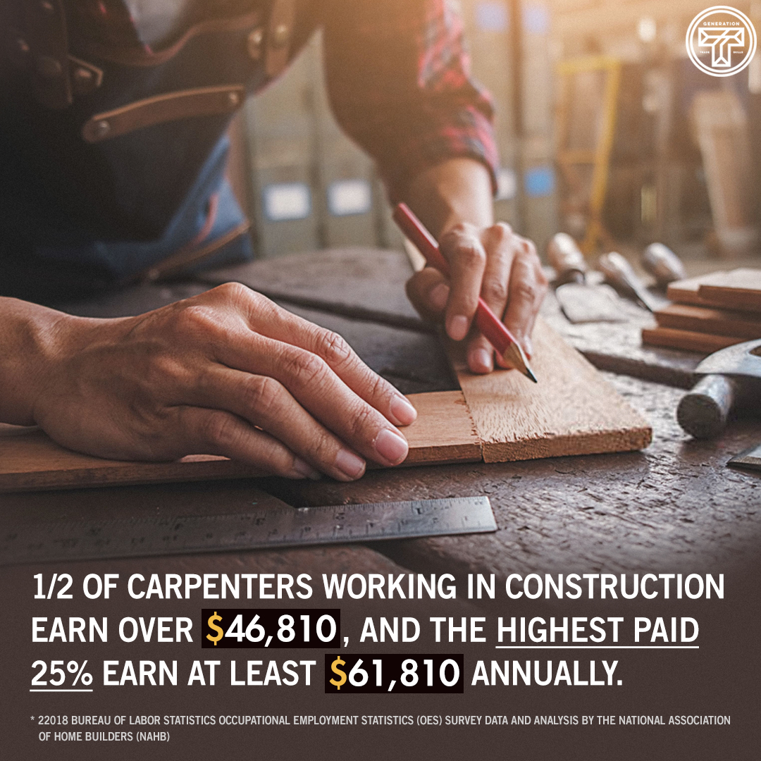 This number can vary, but the fact remains: You CAN make a good living in the construction trades 💰 #generationT