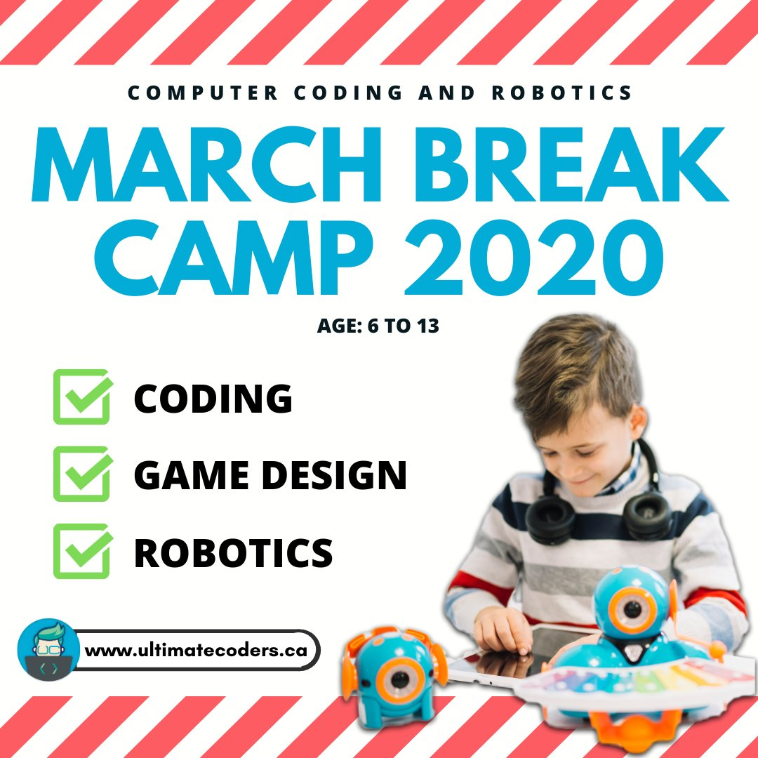 Looking for something exciting and educating for your kids this March Break 2020?  Help discover your child's inner genius! Sign up today! (Limited spots available)  Visit our website to checkout more details and register.  https://www.ultimatecoders.ca   #marchbreakcamp #ultimatecoderspic.twitter.com/vUKGetjo0c