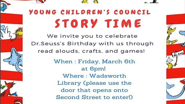 Children's Story Time is on for tonight at 6 PM in Wadsworth Library. Don't miss it. #geneseo @geneseolibrary https://t.co/MkT3r6teKL