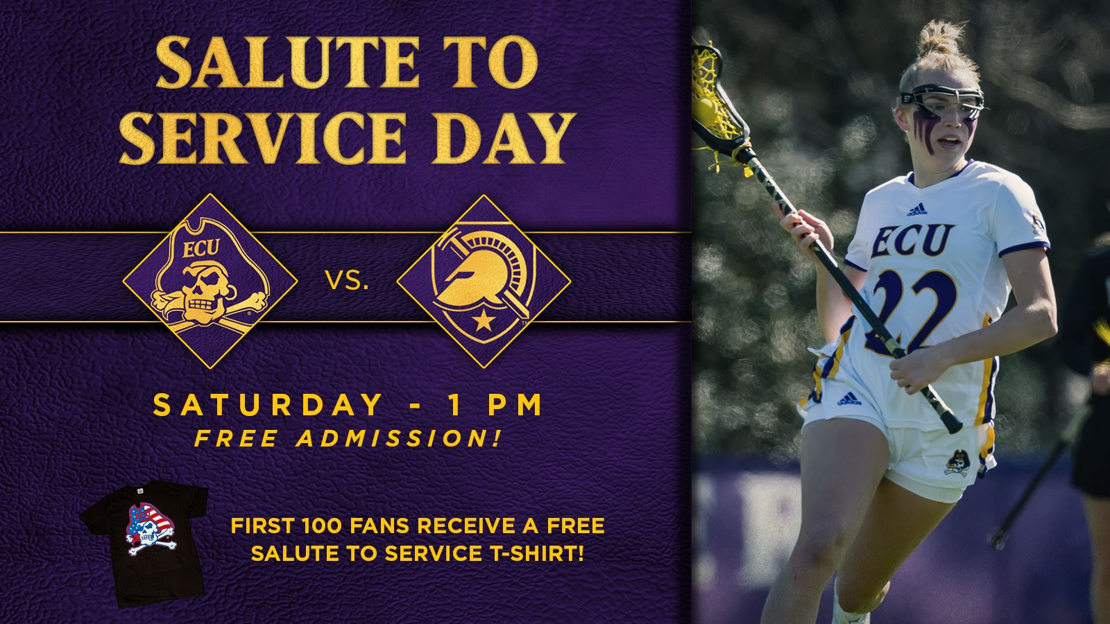 Ecu Women S Lacrosse On Twitter This Weekend Is Our Salutetoservice Game The First 100 Fans To Our Army Matchup Will Receive A Free Ecu T Shirt Admission Is So Come Get A