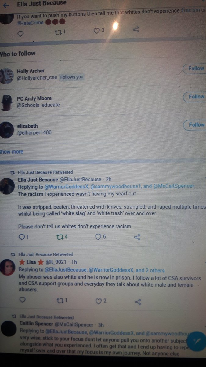 A sample of what Ella (who thinks white women are the biggest victims of racism) calls bullying & pic of her tweets https://twitter.com/WarriorGoddessX/status/953295387200249856?s=20 https://twitter.com/WarriorGoddessX/status/953296978854711297?s=20 https://twitter.com/WarriorGoddessX/status/953298058909020162?s=20 https://twitter.com/WarriorGoddessX/status/953300316170186752?s=20 https://twitter.com/WarriorGoddessX/status/953301180293242880?s=20 *powers* https://twitter.com/WarriorGoddessX/status/953302476337360902?s=208/