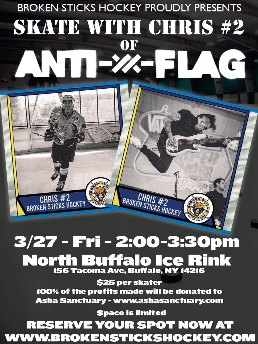 We are beyond excited to announce this awesome event. Come out and skate with @ChrisDos from @anti_flag and help raise some money for the @AshaSanctuary ! You can sign up on our website on the week-to-week section of the site. Space is limited so don't wait too long! #antiflagpic.twitter.com/UOZZHoXBZV