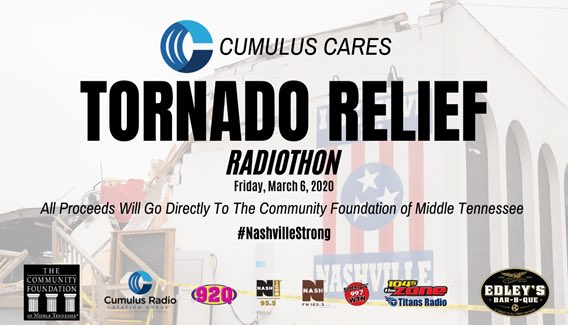 Today our group of radio stations raised over 235k dollars for #TennesseeTornado victims. THANK YOU!