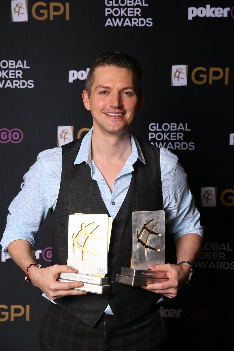 🌐♣️🏆 Joey Ingram wins Journalist of the Year & Content of the Year - Video Awards at #GlobalPokerAwards @Joeingram1