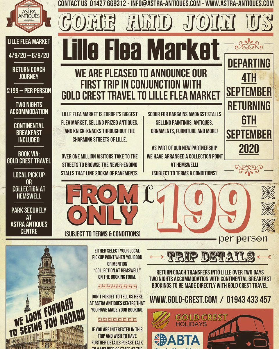 Have you ever dreamed of scouring the French flea markets for treasure? If so here's your chance to come on a fantastic trip. Please contact for more information. #fleamarketsoffrance #lille #france #treasurehunting #antiqueshunting #tripsabroad #fleamarket #vintagegoods #europe https://t.co/iG1DHvAhTn