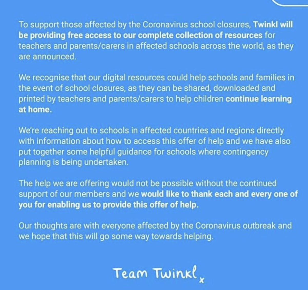 Well done @twinklresources This will no doubt be appreciated by those schools affected.