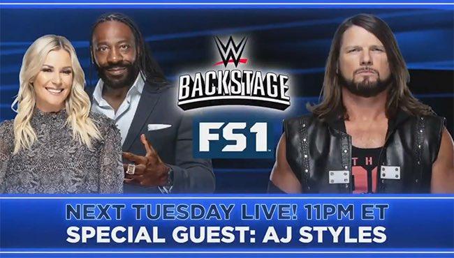 AJ Styles is set to appear on next week's episode of WWE Backstage.  @AJStylesOrg #AJStyles #WWE #WWEBackStage https://t.co/P5WNkbTuK8