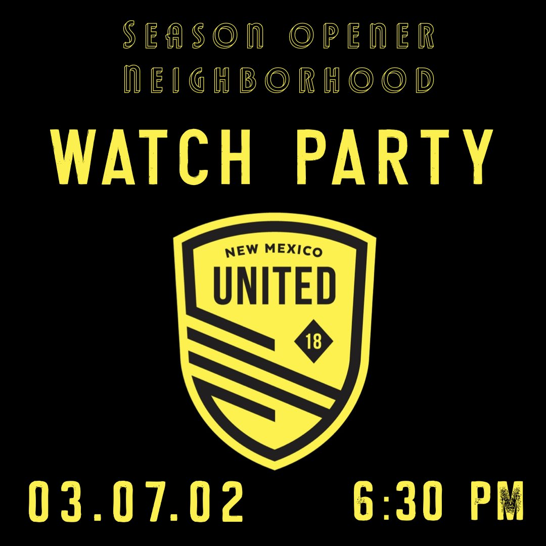 Tonight we are playing @newmexicoutd season 2 game opener against Austin Bold on the patio. Game time 6:30pm. Wear your 🖤💛 for $1off pints. Go #nmunited!!!! Food Truck: @the_munchie_truck 5-9pm #community #newmexicounited #yourneighborhoodpub https://t.co/9PGIv8dHQW
