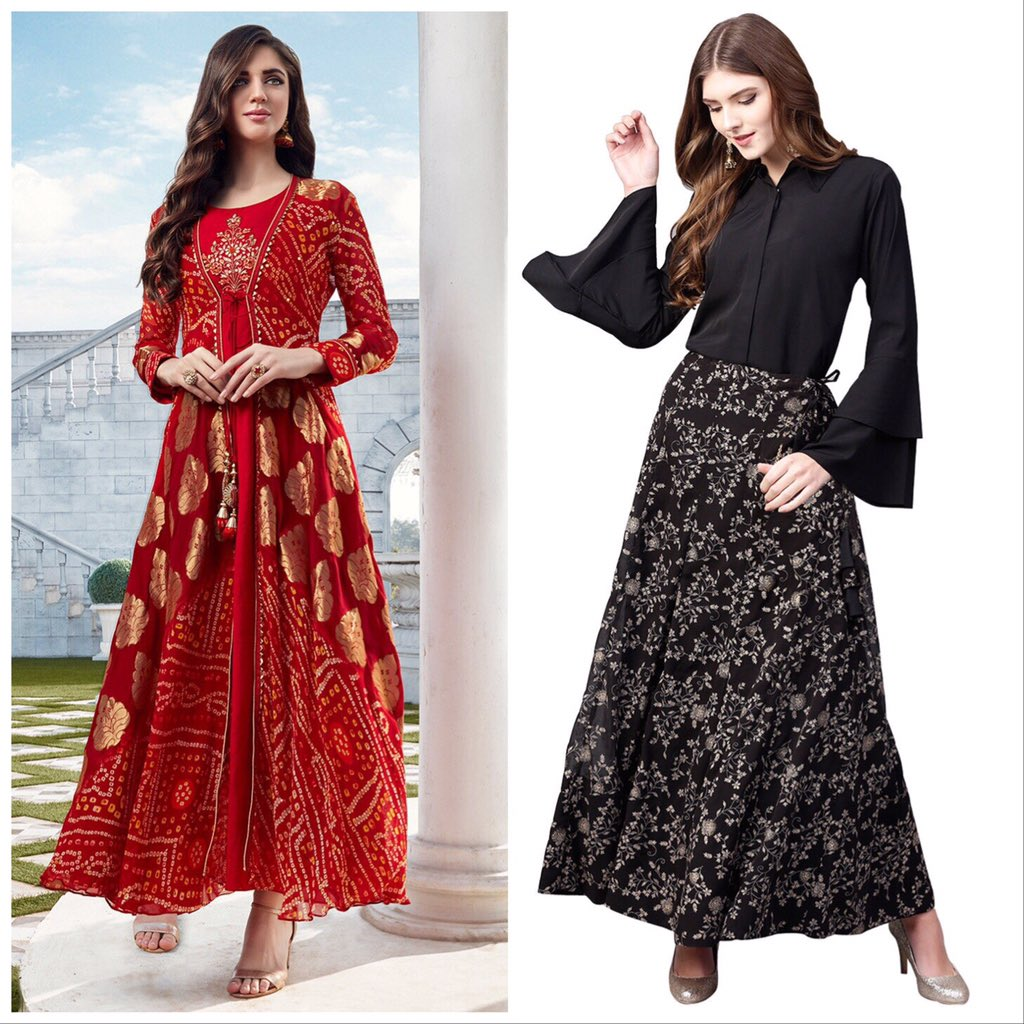 Would you want to feel fiery in this flaming red long kurta with jacket or keep it classic in forever sensuous black top and skirt set ?  shop: TLX617, TFF172 #fusionwear #skirts #black #red #sale #ethnicwear #womensfashion #womenswear #whatwherehow #whatwhenwhere #pollpic.twitter.com/Qnnane37Bv