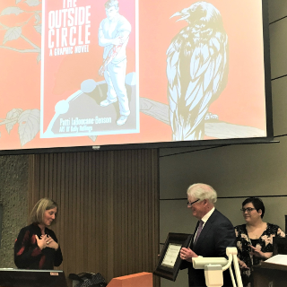 Congratulations to @MetisSenatorPLB who was awarded the #UAlbertaLaw Aboriginal Justice Award at the 2020 @ILSA_UAlberta speaker series on Friday, March 6.