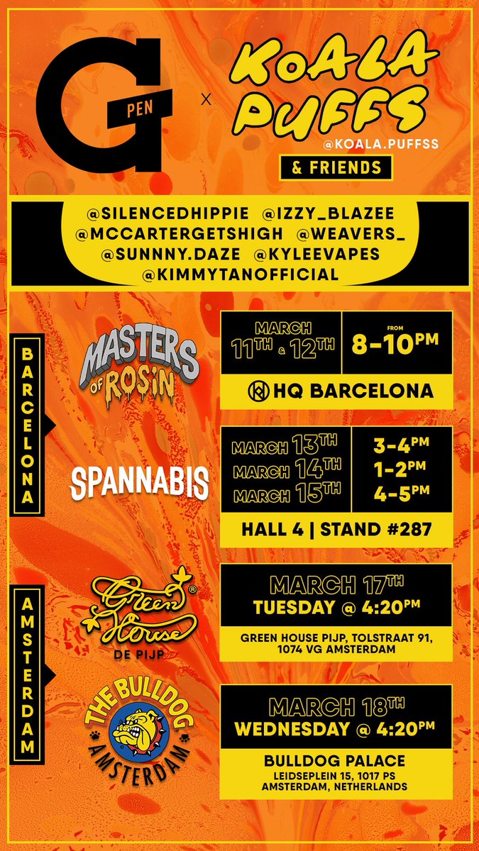 Here is all the info on where we will be in Spain and Amsterdam these next two weeks  Please come by and smoke with us 😍 https://t.co/0JKjYKqh41