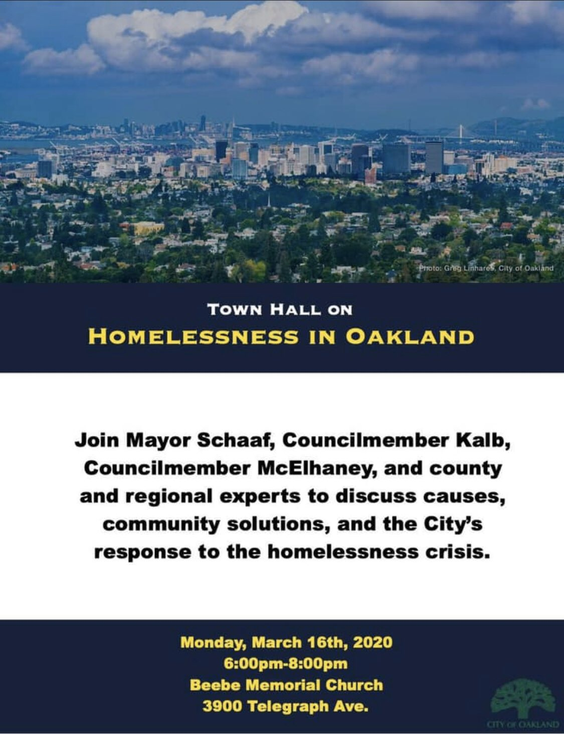 Townhall on Homelessness in Oakland @ NOW JUST ONLINE!! Beebe Memorial Church