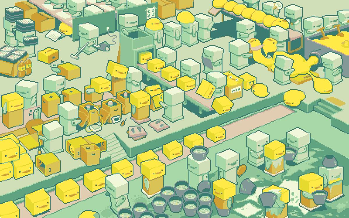元々イラストだったヒヨコロボット工場 動かしたくてドット絵 Gifアニメ化しまし Asahaのイラスト