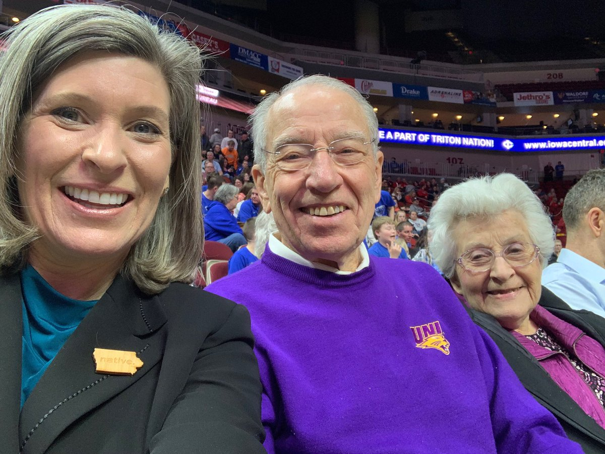 Iowa girls basketball championships with @ChuckGrassley and Barbara! Thanks @IGHSAU #IowaGirlStrong