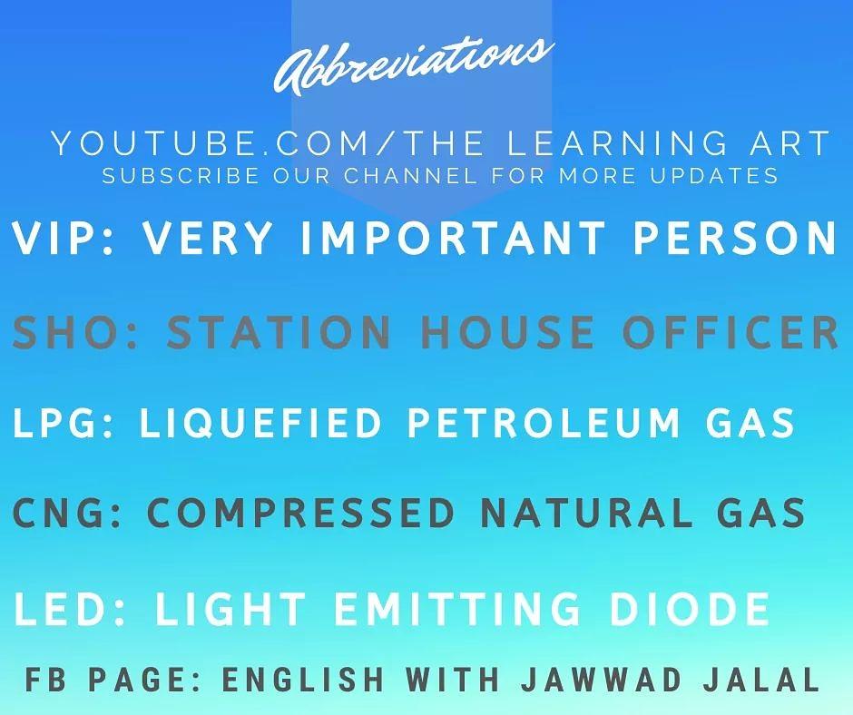 Abbreviations #abbreviations  #EnglishwithJawwadJalal  #TheLearningArt  #EnglishLanguage  #EnglishGrammar  #OnlineEnglishClasses  #OnlineLessonspic.twitter.com/Bc6Woyc8JO