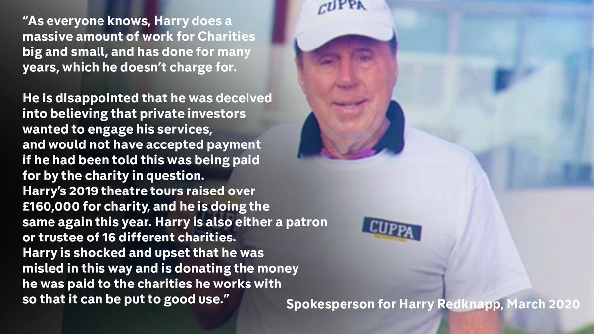 """A spokesperson for Harry Redknapp said: """"Harry does a massive amount of work for Charities"""". 4/10"""