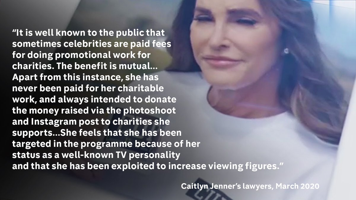 """Caitlyn Jenner's Lawyer said that she has """"never been paid for her charitable work"""". 7/10"""