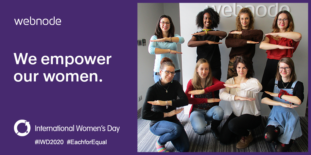 Webnode have 127 people in total. 68 of those people are women distributed across all departments: Managers, Customer Care Agents, Designers, Marketers, Trainers, Team Leaders, Localization, HR ...  #EachforEqual #IWD2020 https://t.co/rZMFCYW5me