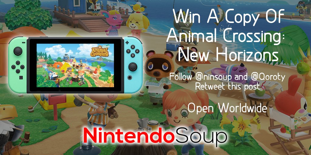 Win a copy of Animal Crossing: New Horizons for #NintendoSwitch!  1. Follow @ninsoup and @qoroty 2. Retweet  Open worldwide. Ends March 16, 5am PT.  Increase your chances by entering on Facebook: