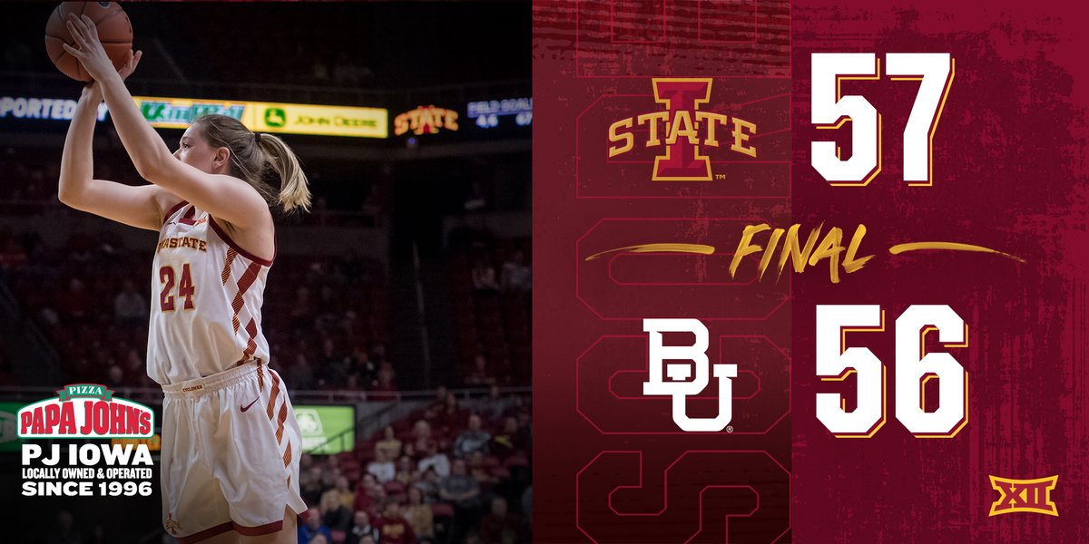 𝗖𝗬𝗖𝗟𝗢𝗡𝗘𝗦 𝗪𝗜𝗡!  Iowa State pulls off the upset and knocks off No. 2 Baylor, 57-56. The Cyclones end Baylor's 58-game Big 12 regular-season win streak.     #MoreNotLess | #Th12isWBB  🌪️🏀🌪️ https://t.co/OAWindaFkE