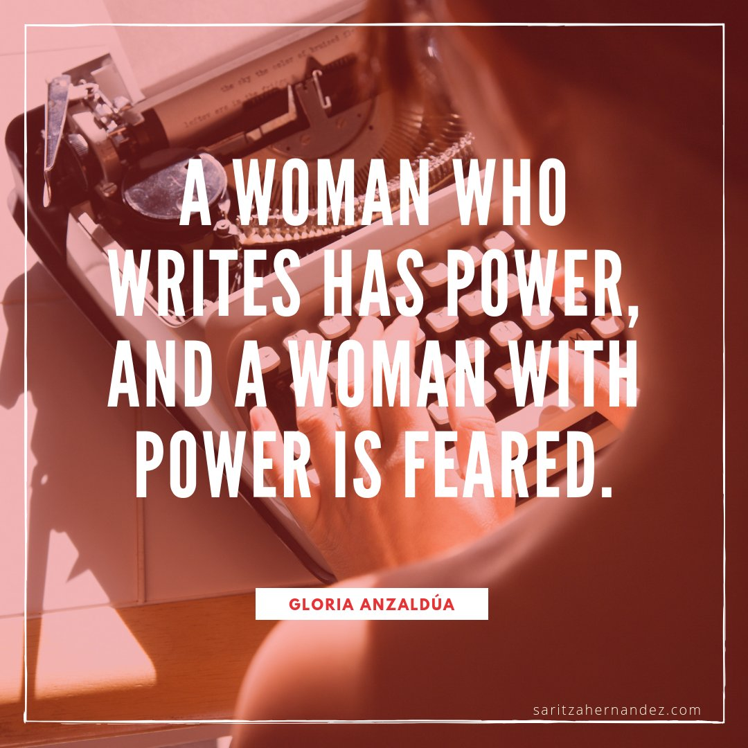 """""""A woman who writes has power, and a woman with power is feared."""" —Gloria Anzaldúa #IWD2020 #QOTD #quotes https://t.co/CfrP82lhxu"""