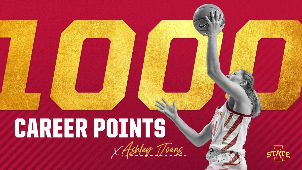 In other news ...  @ashleyjoens became the first sophomore in Iowa State history to reach 1,000 career points. Way to go, Ashley! 👏  🌪️🏀🌪️ https://t.co/fAZsD3Baob
