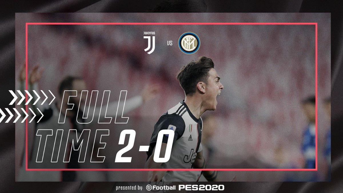 FT | ⏱| Un'OTTIMA Juve batte 2-0 l'Inter! IL DERBY D'ITALIA E' BIANCONERO! ⚫️⚪️  ⚽️ @aaronramsey  ⚽️ @PauDybala_JR   Nel finale, vicinissimo per due volte al terzo gol @Cristiano   BRAVISSIMI RAGAZZI!  💪  #JuveInter  #ForzaJuve https://t.co/r95K5lqOda