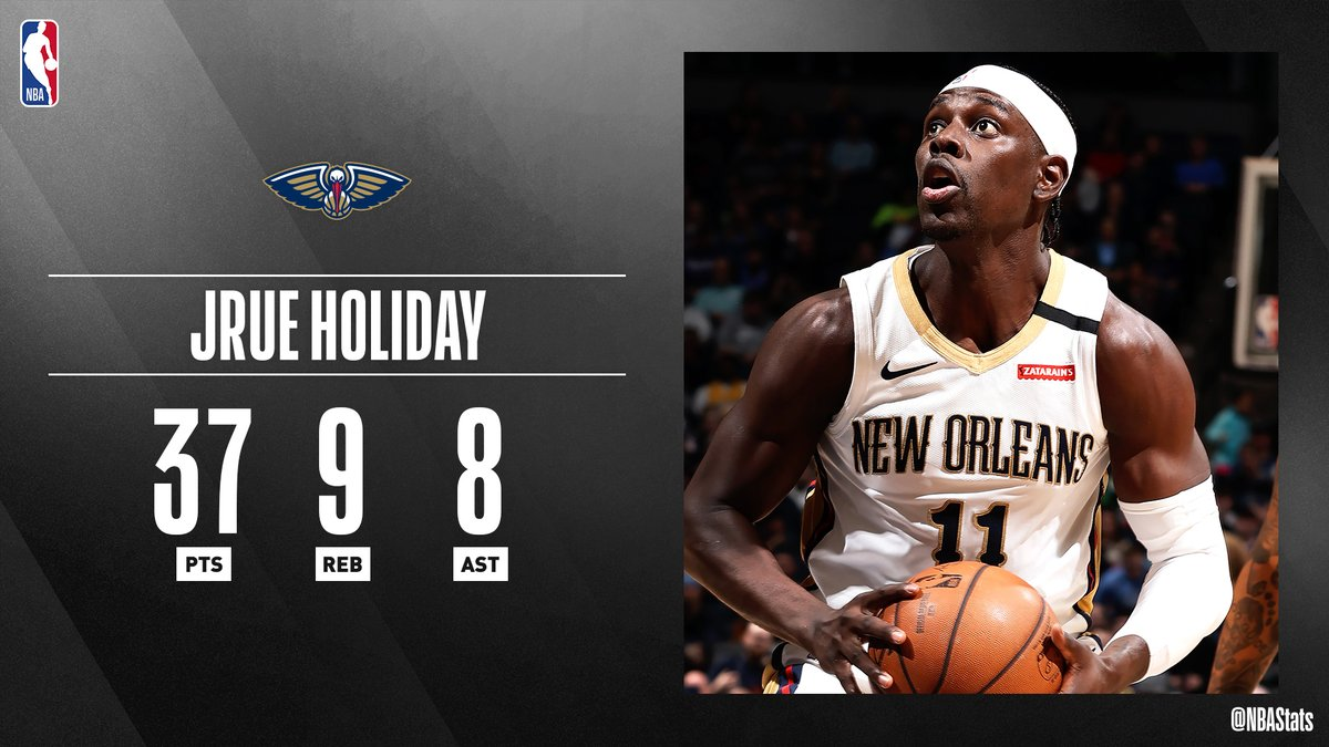 RT @nbastats:  *** Jrue Holiday steers the @PelicansNBA with a season-high 37 PTS, 9 REB, 8 AST! #SAPStatLineOfTheNight https://t.co/e8XVnkoukO #NBA #NBAStats #ThisIsWhyWePlay https://t.co/CFU9t1iwne