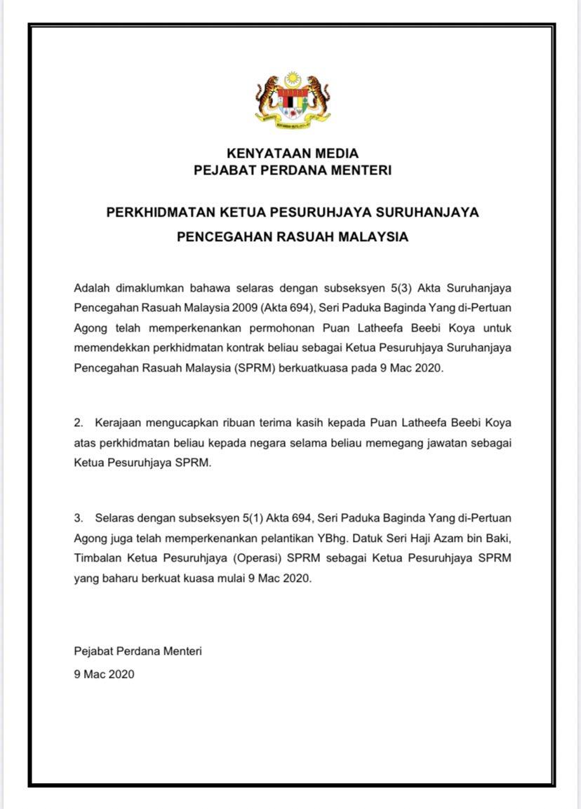 Themalaysianreserve On Twitter Just In Datuk Seri Azam Baki Is The New Macc Chief Effective Today Replacing Latheefa Koya