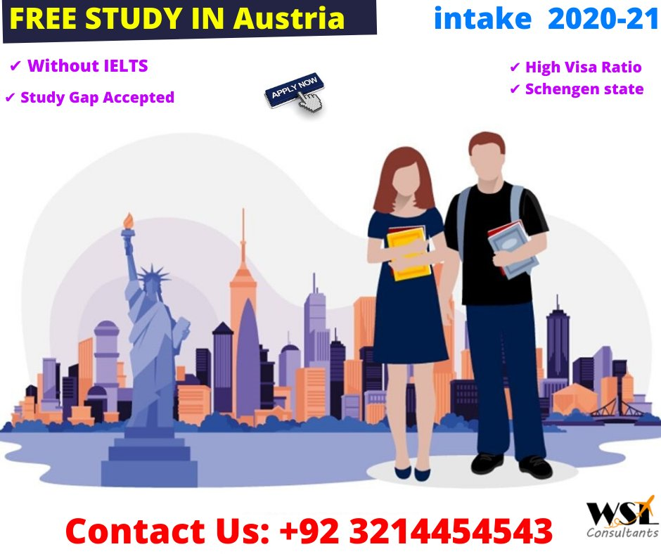 #FREE STUDY IN #Austria  #WSL #Education #Consultants  NO IELTS required Gap is Accepted  High Visa Success Ratio Call : +92 321 4454543  #studyabroad #overseaseducation #BestVisaConsultantsinPakistan #TopVisaconsultants #Overseas #StudyInternational #Consultancy #Trainingpic.twitter.com/g1anc8y4j2