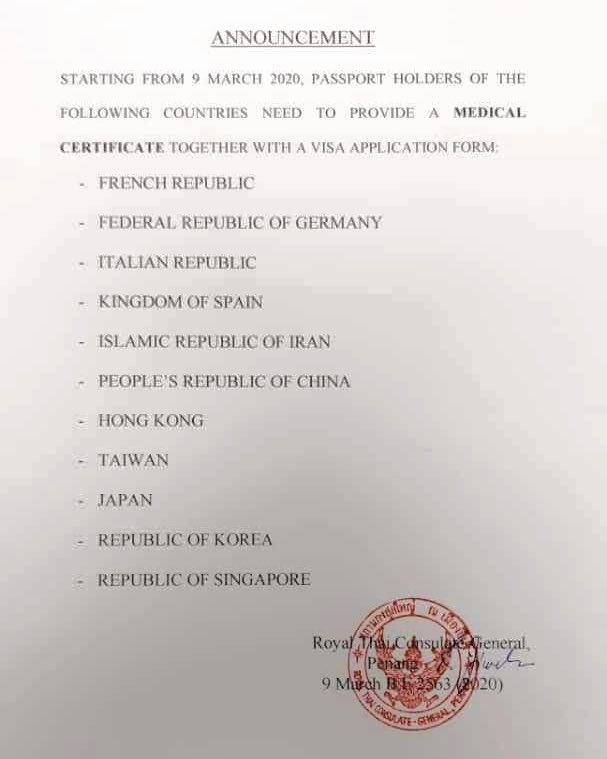 Richard Barrow In Thailand On Twitter The Thai Consulate In Penang Malaysia Has Just Released This Notice Saying That Citizens From France Germany Italy Spain Iran China Hong Kong Taiwan Japan