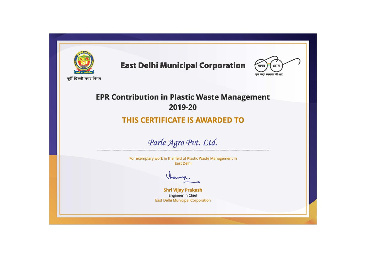 We are proud to receive this certification for our EPR contribution in Plastic Waste Management. We continue to strive forward on our commitment to recycle 100% of our PET bottle waste. https://t.co/grN0NDwU1x