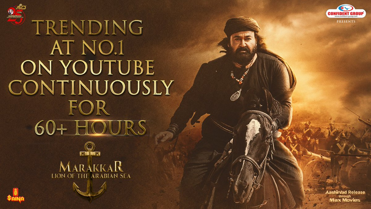 Trending at No.1 on YouTube Continuously for 60+ Hours...!!!!  Watch: https://t.co/L169m78nUm  #MarakkarTrailer #Mohanlal #Priyadarshan #AntonyPerumbavoor #AashirvadCinemas https://t.co/5LgRbNGx9B