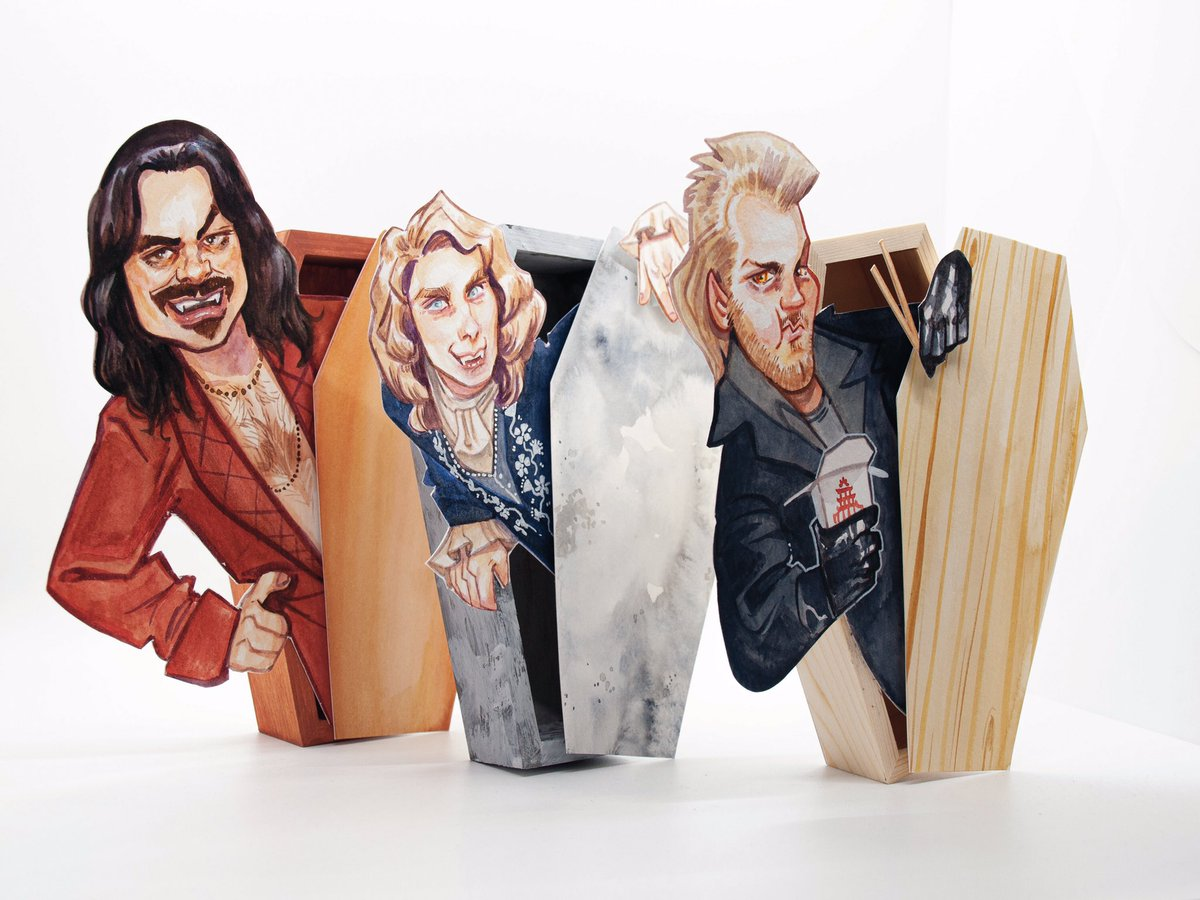How's it hangin' Fang Gang? #finished #whatwedointheshadows #interviewwiththevampire #deadbutdelicious #lostboys #vampires #myart  @AJemaineClement  #watercolor Who should I add to the Fang Gang?pic.twitter.com/iR5mGedv9s
