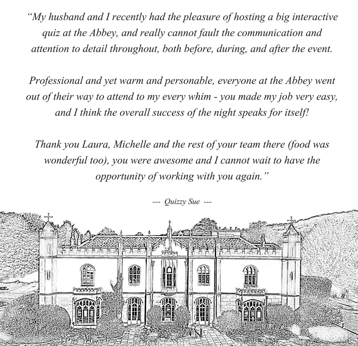 LOVELY REVIEW Thank you to Quizzy Sue for your lovely feedback from our Interactive Quiz Night.  #quiznight #missendenabbey #greatmissenden #quizzysue #interactivequiz #trivianight #quizpic.twitter.com/hBthbstdWh