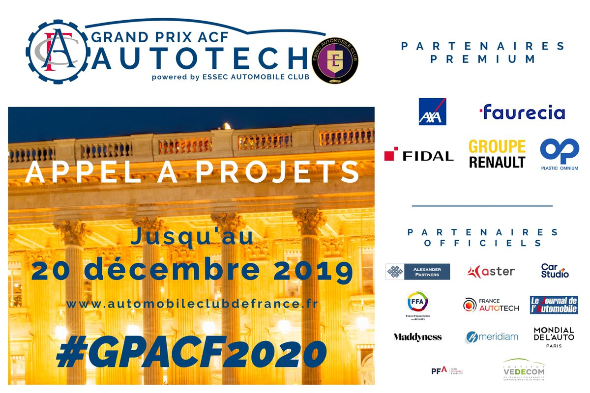 Il reste quelques places pour assister au #GPACF2020 le 2 avril 2020 ! Réservez votre place ici : https://t.co/viRGkuWeSX  #automotive #autonomousvehicle #mobility #startup #event #car https://t.co/dKMtSyC47U
