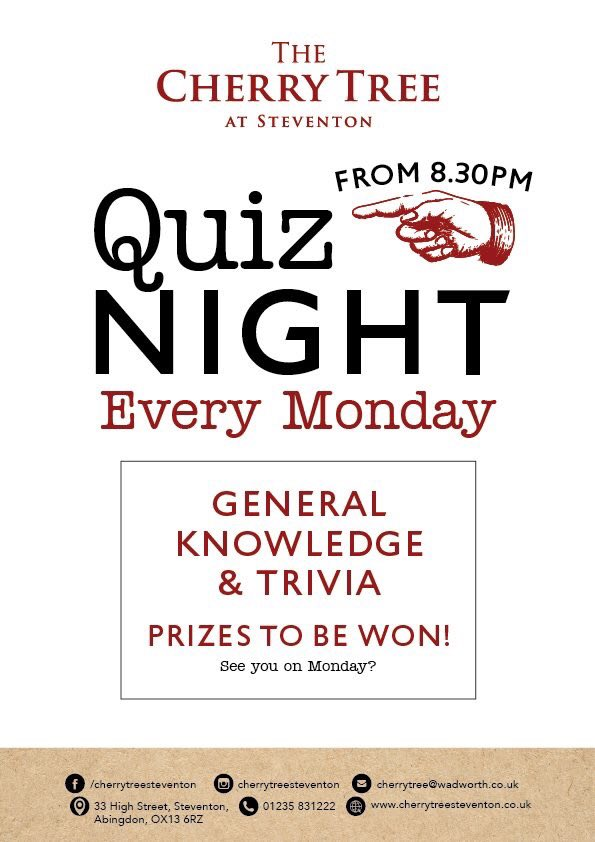 It's #quiz night! Come and join us from 8:30pm tonight......