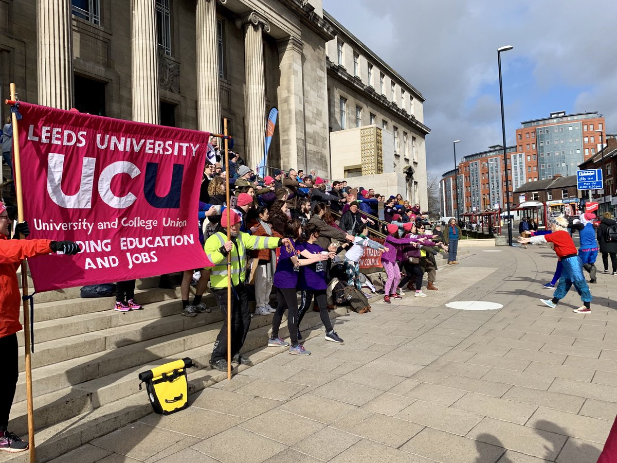 University and College Union pickets outside the University of Leeds on 9th March 2020