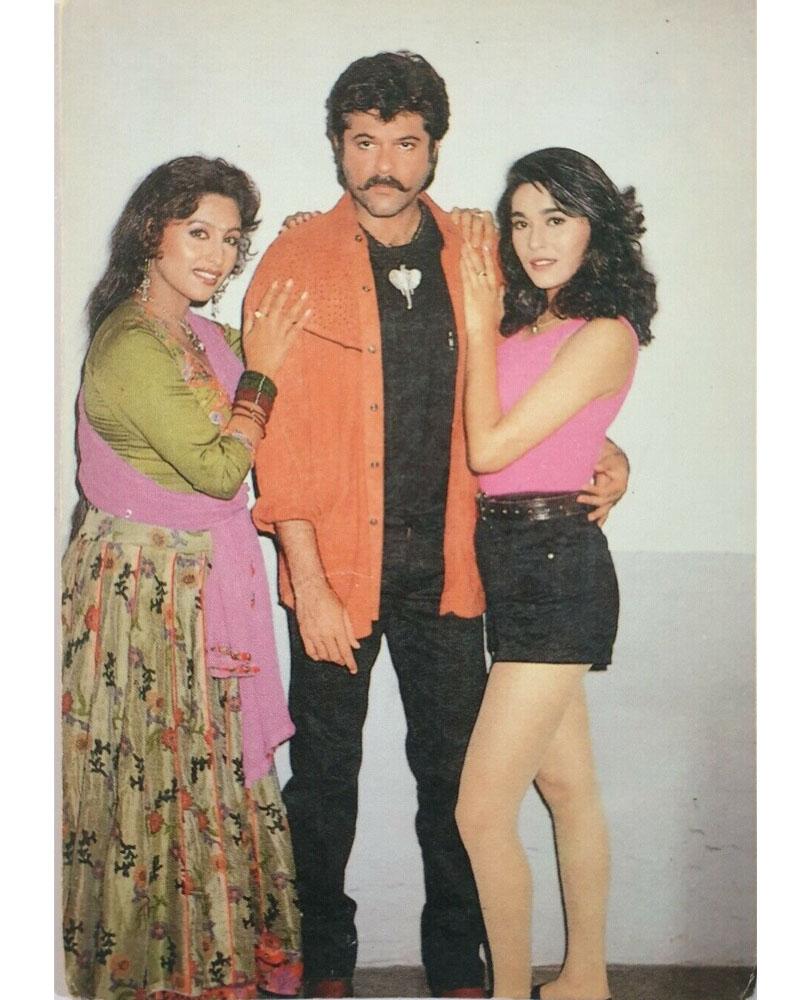 Anil Kapoor, Chandni and Niki Walia during the making of Mr. Azaad (1994) #AnilKapoor #Chandni #NikiWalia #BollywoodFlashback  @AnilKapoor @IAmNikiWalia @sonamakapoor