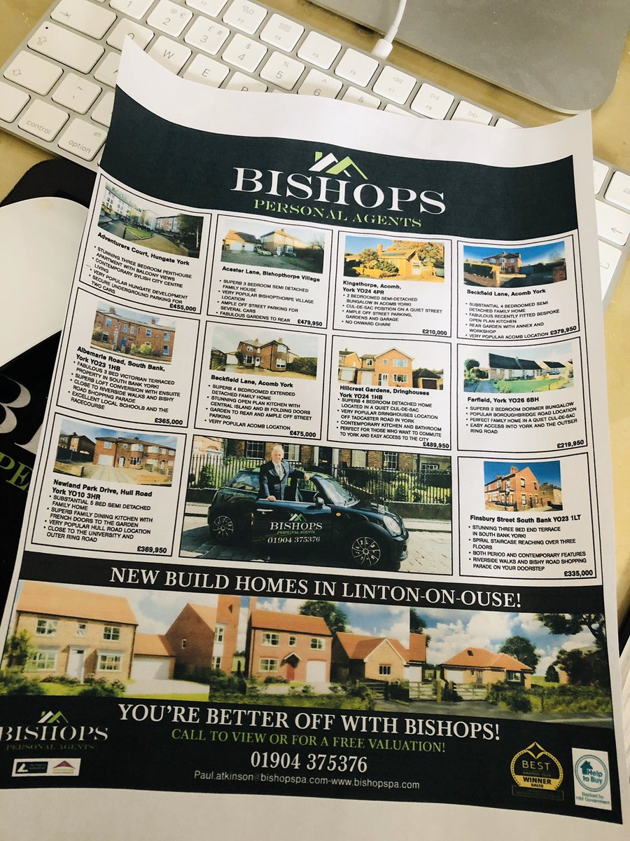 Getting ready for the next property press in York! Would you like to have you're house on the Bishops page? Call 01904 375376! You're better off with Bishops! #propertypress #yorkpic.twitter.com/rfePvZNxaa
