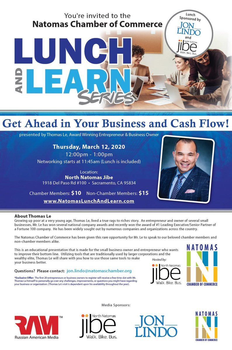 This Thursday 3/12 11:30 am $10 members $15 non-Chamber members. Lunch included... oportunity to network and learn new tools to make your small business more powerful.  * * #business #entrepreneur #brands #Negocios #taxes #natomas #Accounting #branding #BusinessOwner #goals https://t.co/dzh5oDV18e