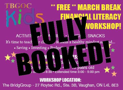 Thank you to all the parents and guardians that booked their children into our TBGOC Kids March Break Camp! We are fully booked again this year and are looking forward to a fun day! #TBGOCkids #TBGOC #ChangingLives #MarchBreakCamp #FinancialLiteracy #FinLit #kidspic.twitter.com/94ZDPJuwkq