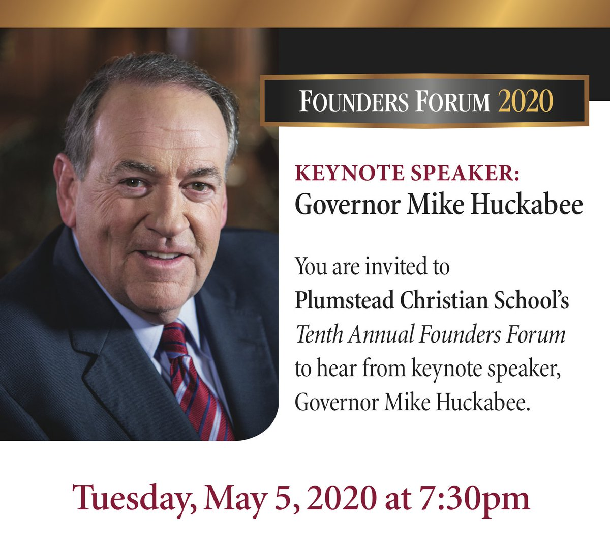 You're invited! #FoundersForum feat. @GovMikeHuckabee  https://t.co/gVsdqKH3ay  @PlumsteadCS #Premiere #Independent #Preparatory #Christian #School #CollegePrep #ChristianSchool #Grow #Faith #Virtue #Knowledge #10thAnnual #10th #Forum https://t.co/oKErKU7oO1