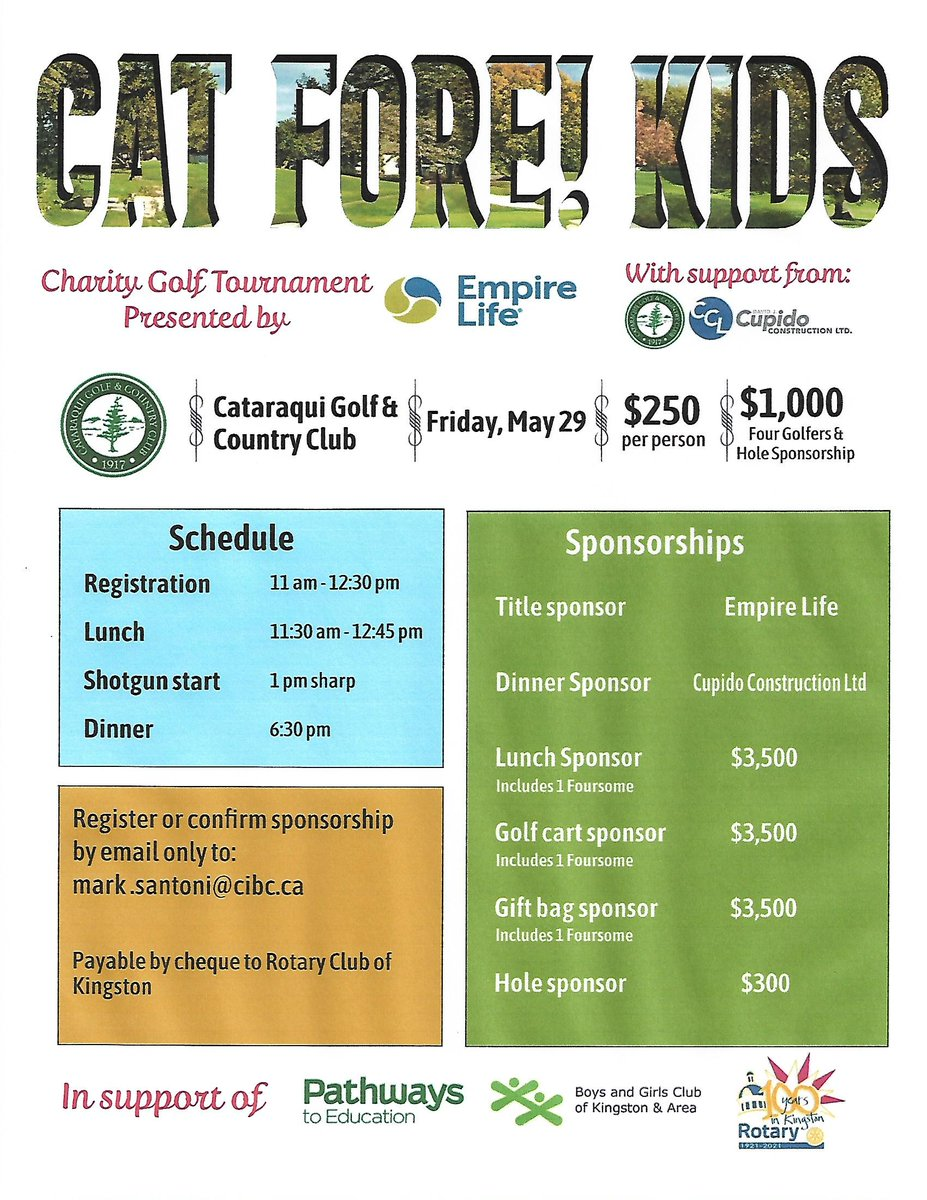 Spring is in the air...plan to join us on Fri May 29th @Catgandcc presented by @EmpireLife in support @BGCKingston @P2EKingston @RCKingston_ON<br>http://pic.twitter.com/HFcs9suOeK