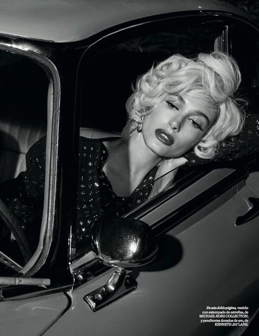 's Media: Old Hollywood glamour: @HaileyBieber wears #MichaelKorsCollection for @VogueSpain. #FameFrames http