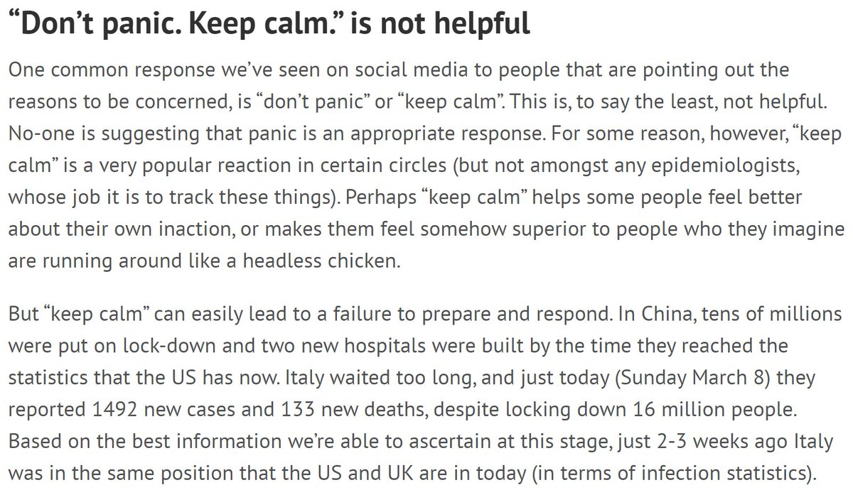 """One of the most common responses on social media to people trying to explain what's really going on is """"don't panic"""".This patronizing response is neither appropriate or helpful. Don't do it.8/"""