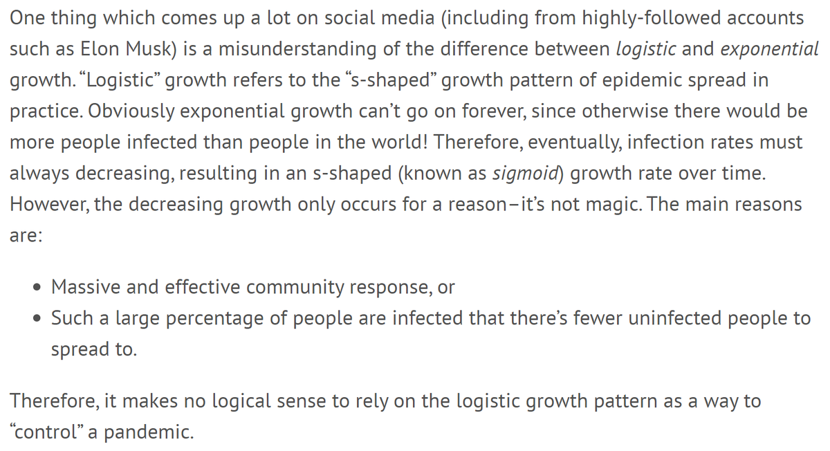 Many arm-chair experts are clinging to a belief that somehow logistic growth will magically save us from a pandemic. Unfortunately, that's not how it works.7/