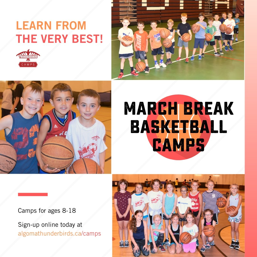 March Break starts next Monday  Join Algoma University's Men's and Women's Varsity Basketball teams for the best March Break ever   Sign up today at http://algomathunderbirds.ca/camps #marchbreak #marchbreakcamp #camp #thesoo #basketball #algomaupic.twitter.com/bDVdaZYaN1 – at George Leach Centre